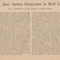 "Article from the ""Listener""  25.11.54. ""A Jane Austen Clergyman in real life"""